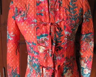 1960s Bright Orange with Colourful Floral Print Mandarin Quilted Jacket S