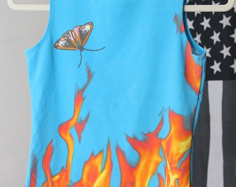 90s butterfly and flame cropped tank top