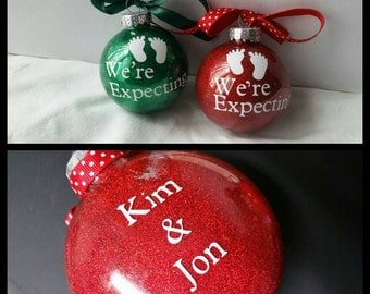 "Personalized ""We're Expecting"" Ornament with Names and Date"