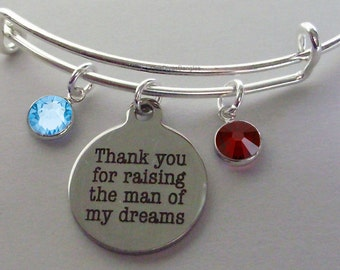 Thank You For Raising The Man of My Dreams Charm Bracelet W/ Birthstone Drop / Mother In Law Bangle / Gift For Her - Usa # S1 - 05