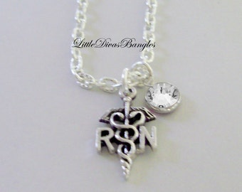 RN  Nurse  CHARM  W/  Swarovski Birthstone /  RN Necklace / Nurse Necklace / Chain Necklace Gift For Her / Under 20  Usa  NK1