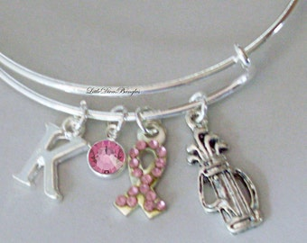 Awareness Bangle W/ GOLF Bag / Pink Crystal Ribbon t W/ A Birthstone / Initial / Awareness Bracelet  Under Twenty / Gift For Her USA G1