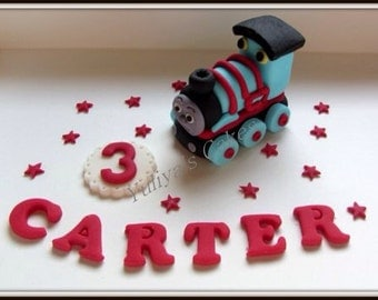 Edible Thomas The Tank engine cake topper,birthday,name blocks,sugarpaste decoration,shipped from Ireland