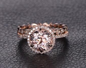 8mm Round Morganite Ring Rose Gold Morganite Engagement Ring Set And Diamond Wedding Band Solid 14K Rose Gold Bridal Wedding ring set