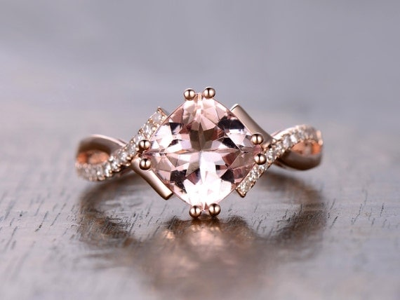 8mm Cushion Cut Pink Morganite Ring 14K Rose Gold Morganite Engagement Ring Twist Wedding Band Split Shank Ring