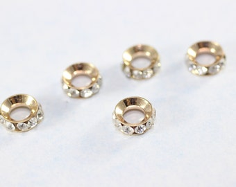 Rondelle Spacer Bead - 8 mm Rose Gold Tone Rondelle Bead - Crystal Rhinestone - Round Spacer Beads