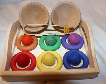 Color Matching Sorting Game Rings - A Waldorf and Montessri inspired toy - Waldorf Toy - Montessori Toy - Toddler - Learning
