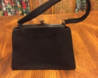Stunning 1930's Art Deco Suede Leather Evening Handbag.