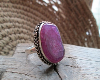 Ring, Handmade, Vintfge, materials: silver, copper, agate