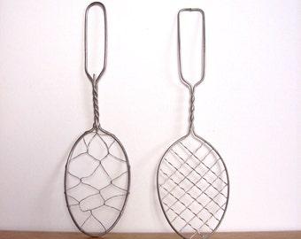 Vintage Wireware Strainer Spoons Skimmer Spoon Rustic Kitchen Decor Wire Whip Collectible