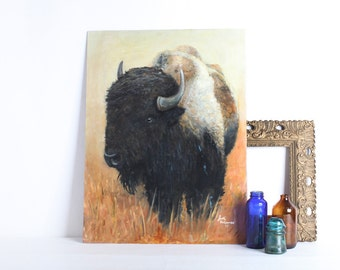 Vintage Large Size Buffalo, Bison Painting