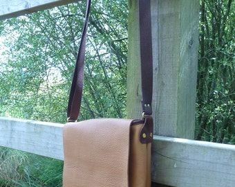 SCKLeather Small Messenger Bag Soft Tan Leather