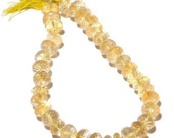 ON SALE 50% AAA Micro Faceted Citrine Rondelles, Huge 11mm Citrine Beads - Half Strand 5 Inches - 18 Pieces, Rgs11