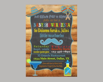 Baby Shower Fiesta Chalkboard, Boy Or Girl Invite, Bow Or Mustache, Mexican  Baby