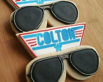 Customizable Topgun Aviator Birthday Sugar Cookie