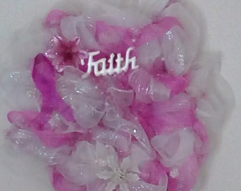 Breast Cancer Faith gift Awareness Wreath Pearls Deco Mesh Wall art decoration feathers