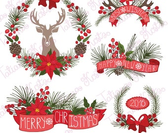 Chtistmas wreath,greeting compositions, clipart