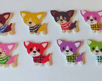 Wooden Dog Buttons x 8