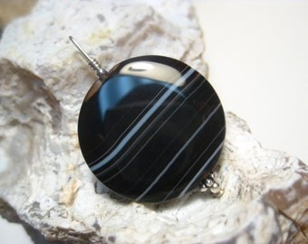Black Lace Agate Pendant in Sterling Silver