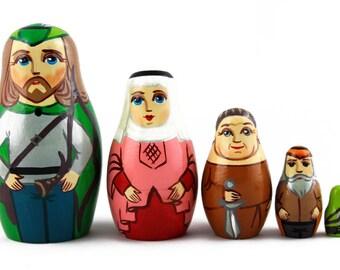 Matryoshka Matreshka Russian Nesting Doll Babushka Robin Hood Set 5 Pieces