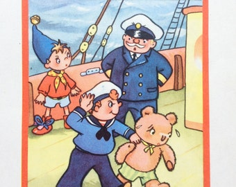 1959 Vintage Noddy Print by Peter Wienk from Noddy Goes To Sea, Enid Blyton, Children's, Toytown, Tubby, Ship