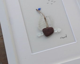 pebble art boat, beach gift, beach home decor , home living, anniversary gift, Birthday gift, coastal , sea glass art, sea glass