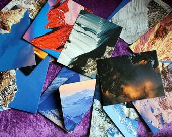 Handmade envelopes. Mini envelopes. Small envelopes, Recycled book pages. Gift card envelopes. Thank you, Love you envelopes. Earth photos