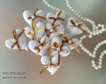 10 pc Handmade crochet hearts, Hearts decoration, Crochet decoration, Wedding decoration, Amigurumi hearts, Heart with ribbon and pearl bead