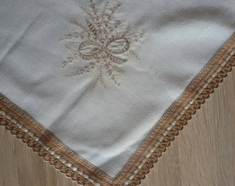 White vintage square cotton tablecloth, tablecloth with beige lace, embroidered tablecloth