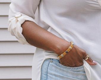 Mustard Yellow Leather Bracelet