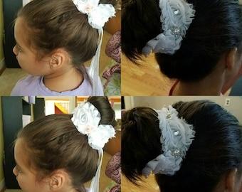 Four Rose Bun Wrap and Headband ~ Bridesmaid~ Ballerina~ Flower Girl~ Christening ~ First Communion