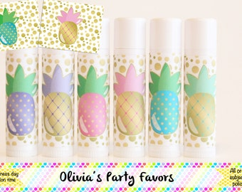 6 Pineapple Lip Balm Favors - Pineapple Party - Pineapple Theme = Pineapple Gift - Lip Balm