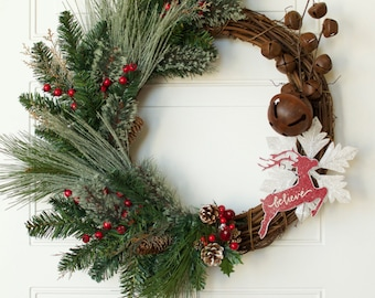 "Rustic Christmas Wreath 25"" Grapevine Reindeer Christmas Wreath Christmas Decor Door Wreath Jingle Bells Christmas READY TO SHIP Holiday Dec"