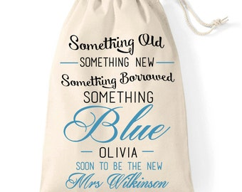 Something borrowed, something blue | wedding keepsake cotton gift bag | bride to be | hen party gift idea.