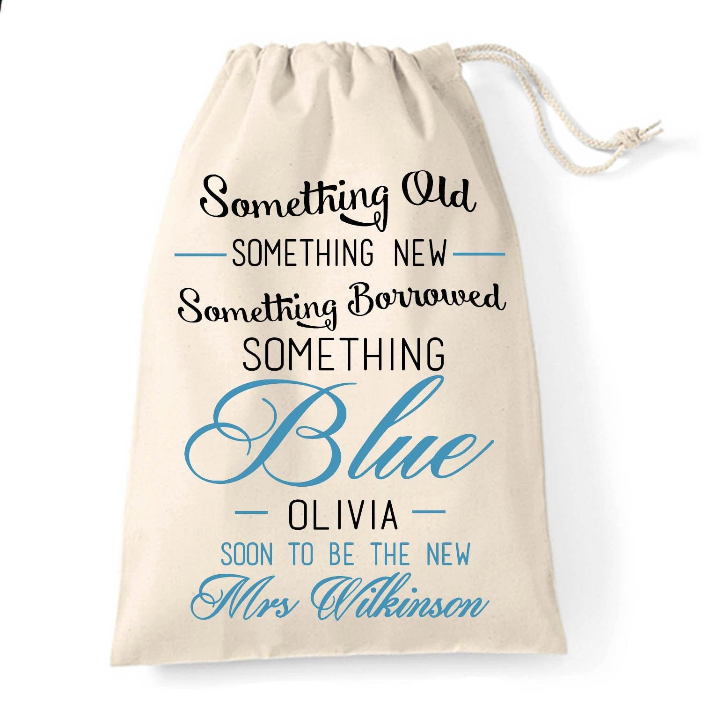Something Borrowed Something Blue Wedding Keepsake Cotton