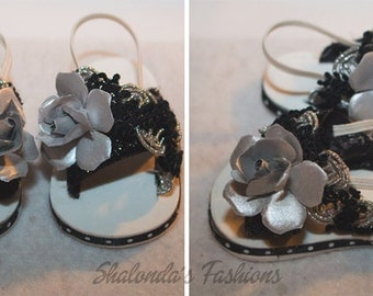 Handmade silver and black sandal for 18 inch doll
