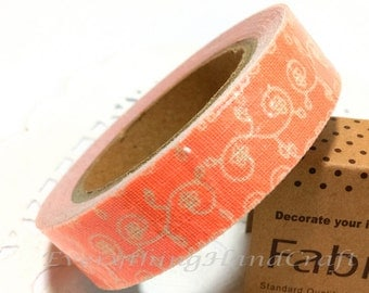 Sticky Tape / Cotton Fabric Adhesive Tape / Korea Decorative Masking Tape Scrapbooking Tools Favor Stationery /Coral Swirl Pattern