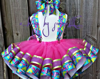 Princess Boutique style tutu with suspenders.