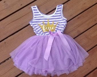 Purple Fifth Birthday Princess Dress