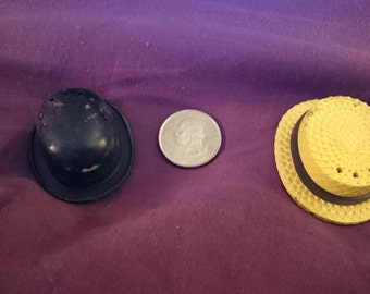 Straw hat and Bowler Salt and Pepper shakers