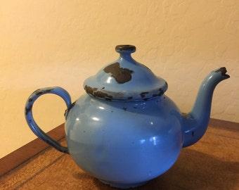 Shabby Chic Chippy Blue Enamel Small Tea Pot Vintage