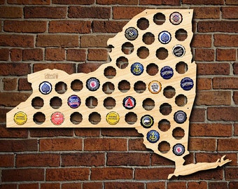 New York Beer Cap Map - Engravable - Made in USA - NY Beer Cap Holder, NYC Craft Beer Gifts for Men, Dad, New Yorkers and Travelers