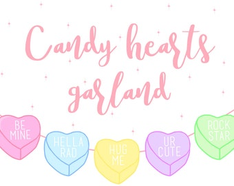 Candy Hearts Paper Garland Bunting Kit