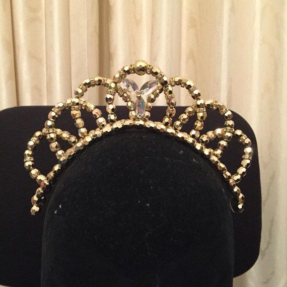 gold perlen ballett tanz diadem mit glas juwelen im zentrum. Black Bedroom Furniture Sets. Home Design Ideas