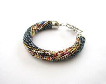 Bright rope bracelet Rope beaded bracelet  Bead Embroidery Crochet bracelet