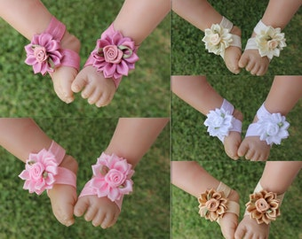 Baby Barefoot Sandals Girl Daisy Flower Shoes Newborn Photo Prop White Pink ivory