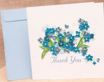Blue Flower Thank You Card, handmade quilled card, Paper Quilling Card