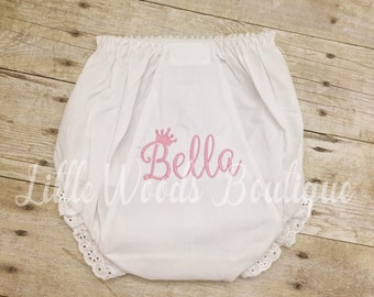 Personalized Baby Diaper Cover - Eyelet Baby Bloomers - Princess Bloomers