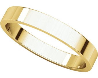 14K Yellow Gold 3mm Flat Wedding Band & Stackable Ring for Women and Men in size 4 to 16