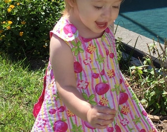 Strawberries and Cherries Pink  Handmade Reversible Sundress for Infants and Toddlers
